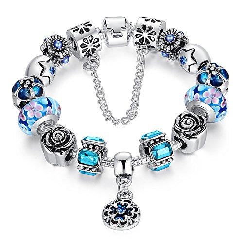 Youfeng jewellery tono braccialetti europei perline in vetro di murano rosa fiore ciondoli portafortuna di perline di cristallo e placcato platino, colore: purple, cod. ypa1855