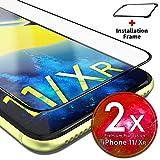 UTECTION 2X Full Screen Pellicola in Vetro Temperato per iPhone XR (6.1') - con Strumento per Applicare - Ultra Clear AntiGraffio & Anti Urto - Formato preciso - Protettiva 9H Trasparente