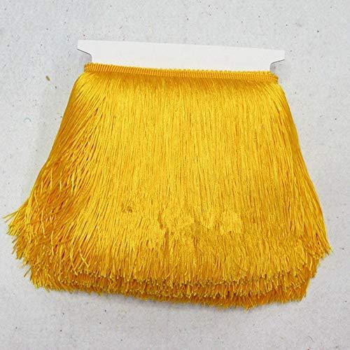 EVEYYLS 10 Meter 20 cm Breite Spitzenband Fringe Trim Quaste Fringe Trimmen Kleidungsstück Vorhang Latin Kleid Bühne Kleidung Costura Zubehör, Gold -