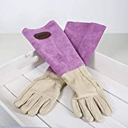 Personalised Pink Leather & Suede Gardening Gloves/Gaunt