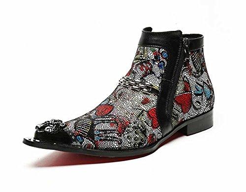 Männer Leder Spitze Cowboy Stiefel Kurze Stiefel Lederstiefel Casual Retro Mode Stylist Männliche Stiefel Persönlichkeit Seitlichem Reißverschluss Stiefel ( Color : Black , Größe : 44 ) (Männer Cowboy-stiefel)