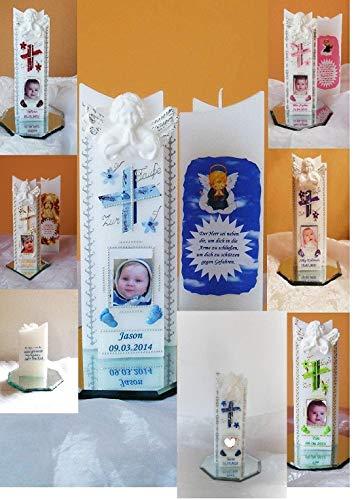 Taufkerze/Kommunionkerze,Konfirmationskerze, Taufgeschenk,Geburtstagsgeschenk mit Foto,(3 D Engel) Junge,Mädchen ink.Foto,Name,Datum B076FXNGYZ