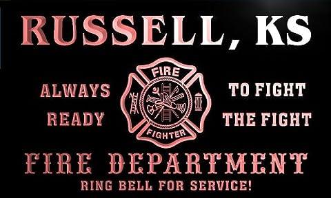 qy56500-r FIRE DEPT RUSSELL, KS KANSAS Firefighter Neon Sign