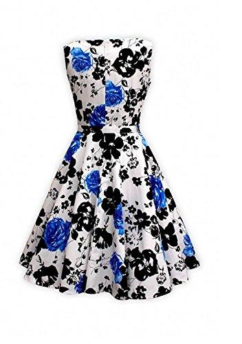 Smile YKK Femme Rétro Robe Peplum Sans Bretelles Moulante Elégante Floral Bleu