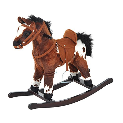 HOMCOM Kids Toy Rocking Horse Wood Plush Pony Handle Ride on Animal Wooden Riding Traditional Rocker Gift w/Neigh Sound (Dark Brown Horse)