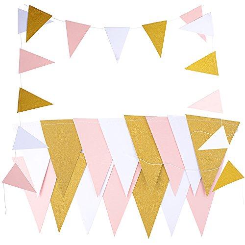 DEOMOR 2 Stück X 2.5 Meter Papier Wimpel Girlande Banner Papier Wimpelkette Wimpelgirlande Glitter Glitzer Deko für Hochzeit Geburtstag Party Kinderzimmer Räumer Fenster (Gold Schwarz Weiß)