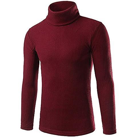 Ularma Suéter de los hombres, blusa Casual Tops de cuello alto