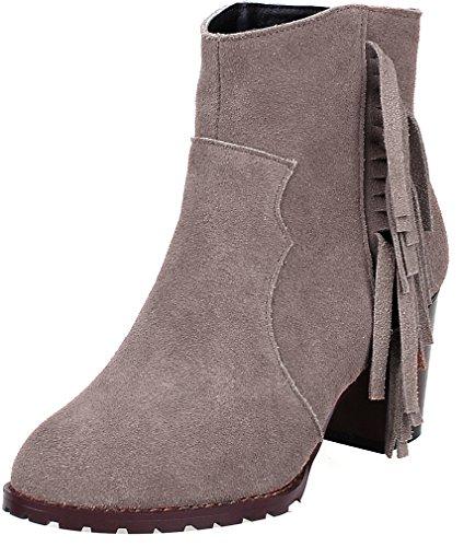 ELEHOT Donna Eledressi tacco a blocco 7CM Leather Stivali, marrone, 40