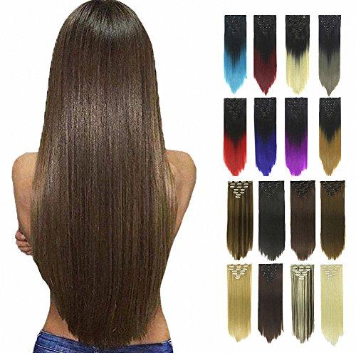 prettywit Clip in on Hair Extensions Full Head glatt, doppelt gewebt 58,4–61cm lang Haarteil 7/Set für Frauen (schwarz 2) (Halloween Hair Extensions)