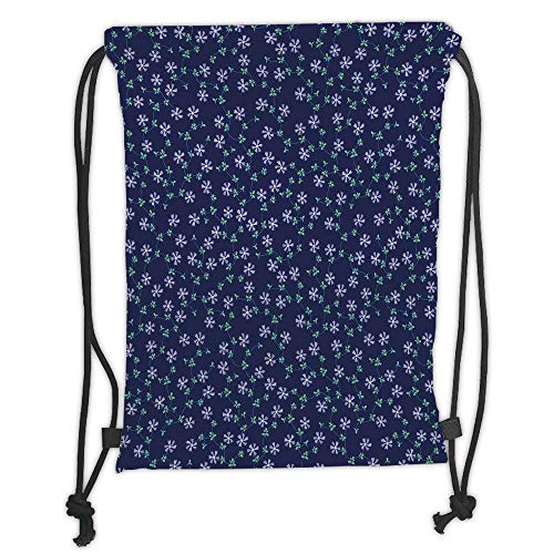 Juzijiang Drawstring Sack Backpacks Bags,Navy Blue Decor,Ornate Meshed Daisy Flowers and Vines on Plain Background Decorative Home,Dark Blue Lilac Green Soft Satin,Adjustable. -