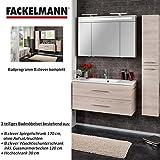 Fackelmann Badmöbel Set B.Clever 3-tlg. 150 cm esche mit Waschtischunterschrank inkl. Gussmarmorbecken & Hochschrank & LED Spiegelschrank 3 türig
