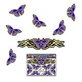 Pegatina animal mirada del cromo del oro de la etiqueta de la pequeña mariposa de la mariposa para las caravanas del coche Camiones y barcos ST00021GD_SML - Etiquetas engomadas de JAS