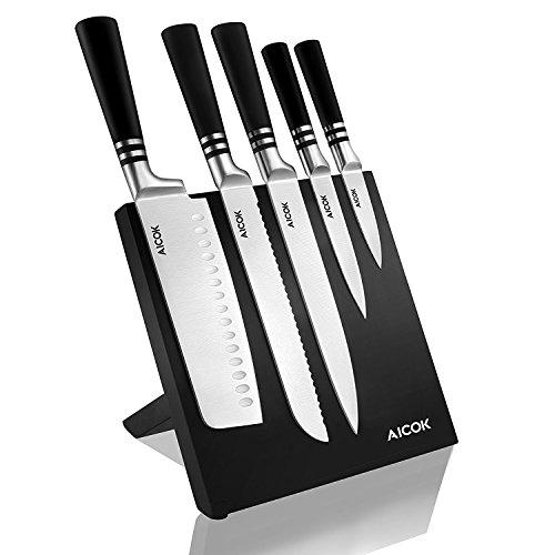 Aicok cuchillos, set de cuchillos de carbono inoxidable alemán. Incluye 5 cuchillos diferentes y un soporte magnético para ellos width=
