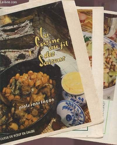 LA CUISINE AU FIL DES SAISONS - 35 FEUILLETS : Queue de boeuf en daube + macaroni en salade + les fruits de mer + viandes tendres de printemps + la cuisine parfumée + les asperges + les petits pois + coupes des quatre-saisons + premiers légumes...etc.
