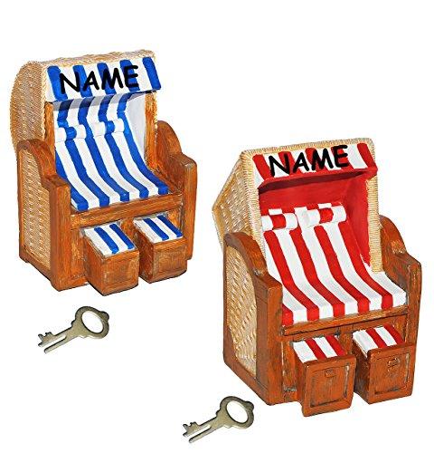 alles-meine.de GmbH Strandkorb für Reisekasse & Urlaubsgeld  – XL Spardose – incl. Name – Sparschwein lustig witzig / stabile Sparbüchse aus Kunstharz mit Schlüssel – Strandba..