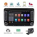 Camecho 2 DIN Android Auto Radio CD DVD Player GPS Navi Touch Screen Auto Multimedia Player Auto Stereo Audio für VW/Golf/6/Golf/5/Passat/Jetta/T5/EOS/POLO/Touran/SEAT/Sharan/CANBus (+ Rückfahrkamera)