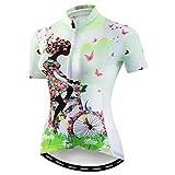 Weimostar Mountainbike-Jersey-Shirts der Radfahren Jersey-Frauen Kurze Hülse Straße Fahrrad-Kleidung Pro-Team MTB übersteigt Sommer-Kleidung Fahrrad grün Größe M