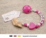 Veilchenwurzel an Schnullerkette mit Namen | natürliche Zahnungshilfe Beißring für Babys | Schnullerhalter mit Wunschnamen - Mädchen Motiv Herz in pink