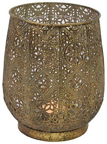 CHICCIE Metall Gold Kerzenhalter Windlicht 18cm - Gestanztes Motiv Teelichthalter Kerzenleuchter...