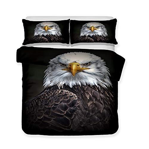 CHAOSE HD Animal Series für Kinder Bettwäsche Set,Superweiche Polyester-Baumwolle,2-teilig (1 Bettbezug + 1 Kissenbezüge) (Der Mut des Adlers, Single Size(135x200cm+1/75x50cm Einzelbett))