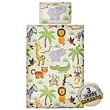 Aminata Kids Dschungel Bettwäsche 100 x 135 cm + 40 x 60 cm aus Baumwolle mit Reißverschluss, unsere Kinderbettwäsche mit Safari-Motiv ist weich und kuschelig