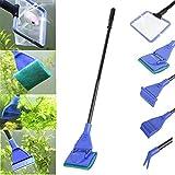 5-in-1Aquariumreinigungs-Werkzeug, Set: Fisch-Netz, Rakel, Schaber, Gabel, Schwamm, für die Entfernung von Algen