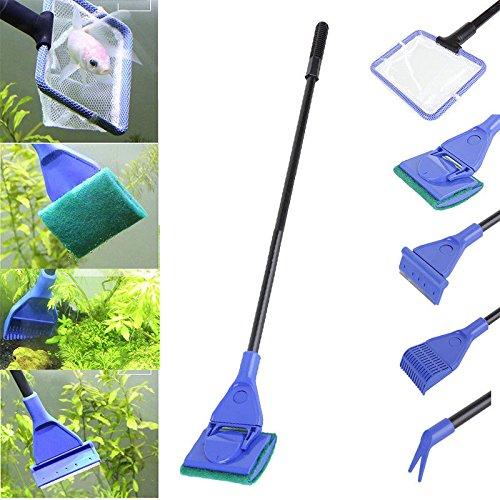 5in 1Aquarium reinigen Werkzeuge, Set Fish Net, Rake, Schaber, Gabel, Schwamm, für die Entfernung von Algen