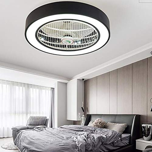 XuBa APP Control 110 V 220 V Macarons Farbe LED Deckenventilator für Restaurant Kinderzimmer Schlafzimmer Schwarzes 55CM -