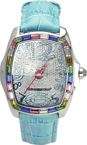 Chronotech MILLIONAIRE - Reloj analógico de mujer de cuarzo con correa de piel azul