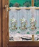 Bestickte Scheibengardine OSTERHASE in 2 Höhen Plauener Spitze Kurzgardine Bistrogardine Frühlingsdeko Osterdeko