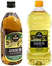 DiSano Extra Virgin Olive Oil, First Cold Pressed, 1L + DiSano Extra Light Olive Oil, Ideal for Indian Cooking