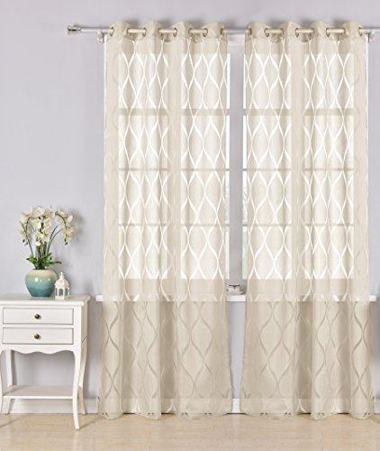 Pimpamtex - tenda trasparente con 8 ochielli, 140 x 260 cm, per soggiorno, camera da letto e camara. tende moderne modello helen - (2 pannelli - 140x260, sabbia)