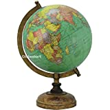 Globeskart Educational/Antique Globe With Brass Antique Arc And Wooden Base / World Globe / Home Decor / Office Decor / Gift Item / 8 Inches (Green Texture)