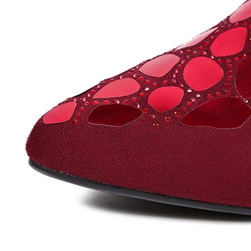 VogueZone009 Femme Pointu Tire Suédé Couleur Unie à Talon Bas Chaussures Légeres Rouge