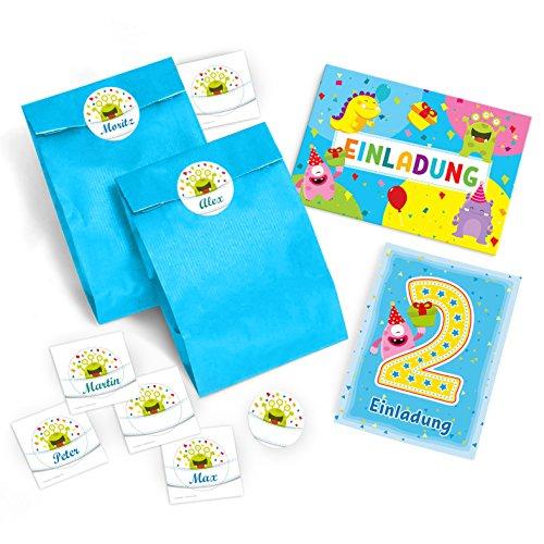 12 Einladungskarten zum 2. Kindergeburtstag blau incl. 12 Umschläge und 12 Party-Tüten und 12 Aufkleber / schöne Einladungen zum Geburtstag für Mädchen und Jungen lustige Monster