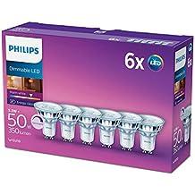 Philips–Bombilla LED de 5,5W, GU10, cristal de luz de foco regulable (de repuesto para foco halógeno de 50W), color blanco cálido, vidrio sintético, GU10, 5.5 wattsW 240 voltsV