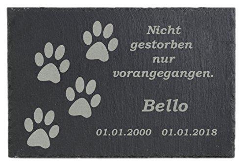 Feiner-Tropfen Gedenktafel Grabstein Grabplatte Schiefer Tatzen Hund Katze Grab