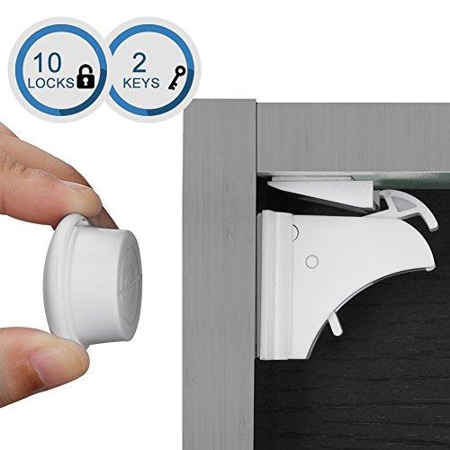 Linkax Cierres de seguridad Para Bebés y Niños Bloqueo de Seguridad Cerraduras magnetica de Seguridad para armarios y Cajones (10 cerraduras + 2 llaves)
