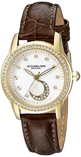 Stührling Original Luna - Reloj de Cuarzo, para Mujer, con Correa de Cuero, Dorado