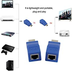 Galaxy Hi-Tech® HDMI Extender, 30M HDMI Network Extender Transmitter and Receiver Adapter V1.4 RJ45 CAT5E CAT6 Ethernet LAN 1080P Converter Adapter for HDTV HD TV DVD