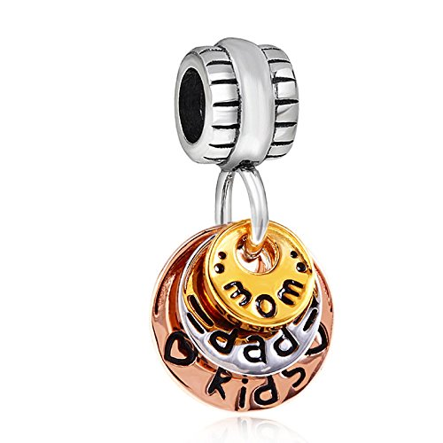 Happy family charm in argento sterling 925 love mom dad kids, con charm per braccialetti collana