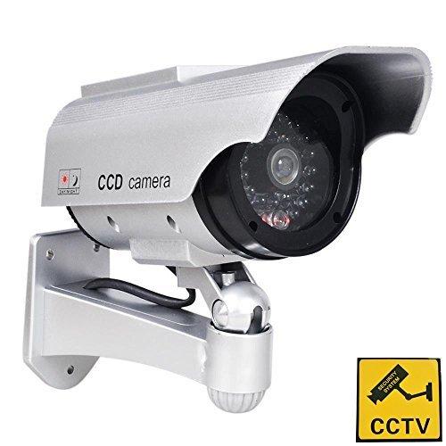 Phot-R Solar Powered Draussen Innen Fälschung Nachahmung IR CCTV blinkende LED Blinklicht Überwachung Sicherheit Mini Speed Dome Dummy Attrappe Cam Kamera I mit Warnung Aufkleber - weiß