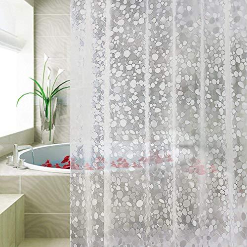 JASONN Duschvorhang Anti Form Wasserdicht, Bad Vorhang 180x180cm, Antibakteriell, Wasserdicht und mit 12 Ringen, Weiß