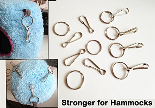 10pcs+ 32mm Spring Clips Hooks with hoop for Rat Hammock Bird Cage Happy Hut Toy (10 pcs no hoop) 2