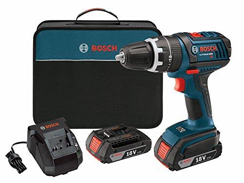 Bosch DDS181-02 18-Volt-Lithium-Ionen-02.01-Zoll-Compact Tough Drill/Driver Kit mit 2 Batterien mit Hohen Kapazität, Ladegerät und Fall
