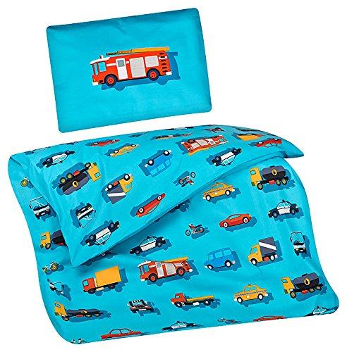 Aminata Kids Kinder-Bettwäsche 100-x-135 cm Auto-s BAU-Fahrzeuge Feuerwehr Baby-Bettwäsche 100-% Baumwolle Renforce hell-blau Junge-n