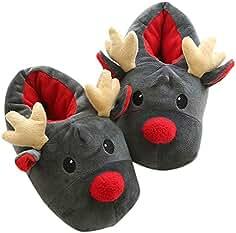 Hausschuhe Weihnachten Plüsch Schlappen Pantoffel Puschen Tier Rentier Geschenk