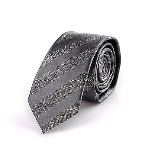 Z-P Mens Necktie Grey Stripes Jacquard Skinny Microfiber Tie