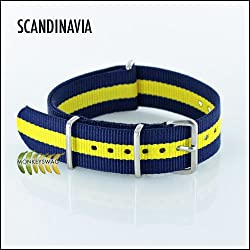 G10 Nato Nylon Watch Strap, Scandanavia, Navy Blue & Yellow stripes