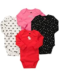 Carter's Baby Girls 4-pack Long-sleeve Bodysuits (6 Months, Red/Multi) Color: Red/Multi Size: 6 Months (Baby/Babe/Infant - Little ones)
